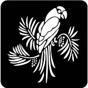 šablona za izradu airbrush ili glitter privremene tetovaže PAPIGA NA GRANI (1 kom)
