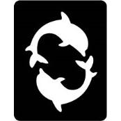 šablona za izradu airbrush ili glitter privremene tetovaže DELFINI 3 (paket od 5 kom)