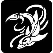 šablona za izradu airbrush ili glitter privremene tetovaže DELFIN TRIBAL VELIKI (1 kom)