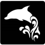 šablona za izradu airbrush ili glitter privremene tetovaže DELFIN NA VALU 2 (paket od 5 kom)