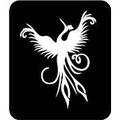 šablona za izradu airbrush ili glitter privremene tetovaže FENIKS (paket od 5 kom)