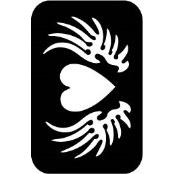 šablona za izradu airbrush ili glitter privremene tetovaže SRCE SA KRILIMA (paket od 5 kom)