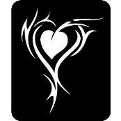 šablona za izradu airbrush ili glitter privremene tetovaže SRCE TRIBAL VELIKO (paket od 5 kom)