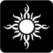 šablona za izradu airbrush ili glitter privremene tetovaže SUNCE TRIBAL VELIKO (paket od 5 kom)