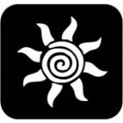 šablona za izradu airbrush ili glitter privremene tetovaže SUNCE SWIRL (paket od 5 kom)