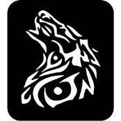 šablona za izradu airbrush ili glitter privremene tetovaže VUK (paket od 5 kom)