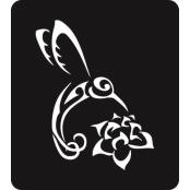 šablona za izradu airbrush ili glitter privremene tetovaže KOLIBRI I CVIJET (paket od 5 kom)