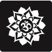 šablona za izradu airbrush ili glitter privremene tetovaže OM U LOTOSU (paket od 5 kom)
