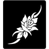 šablona za izradu airbrush ili glitter privremene tetovaže RUŽA 19 (paket od 5 kom)