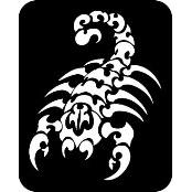šablona za izradu airbrush ili glitter privremene tetovaže ŠKORPION XXL (1 kom)