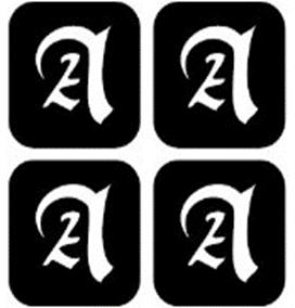šablona za izradu airbrush ili glitter privremene tetovaže slova pismo A