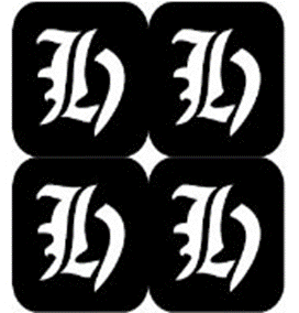 šablona za izradu airbrush ili glitter privremene tetovaže slova pismo H