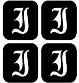 šablona za izradu airbrush ili glitter privremene tetovaže slova pismo I