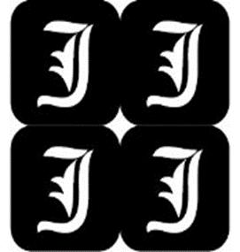 šablona za izradu airbrush ili glitter privremene tetovaže slova pismo J