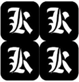 šablona za izradu airbrush ili glitter privremene tetovaže slova pismo K
