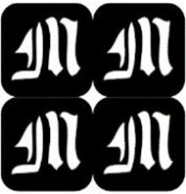 šablona za izradu airbrush ili glitter privremene tetovaže slova pismo M