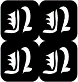 šablona za izradu airbrush ili glitter privremene tetovaže slova pismo N