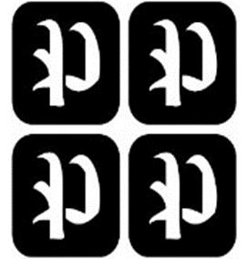 šablona za izradu airbrush ili glitter privremene tetovaže slova pismo P