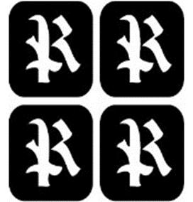 šablona za izradu airbrush ili glitter privremene tetovaže slova pismo R