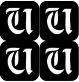 šablona za izradu airbrush ili glitter privremene tetovaže slova pismo U