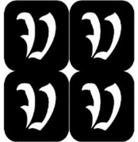 šablona za izradu airbrush ili glitter privremene tetovaže slova pismo V