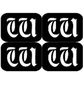 šablona za izradu airbrush ili glitter privremene tetovaže slova pismo W