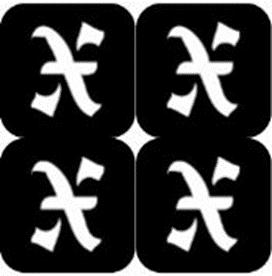 šablona za izradu airbrush ili glitter privremene tetovaže slova pismo X